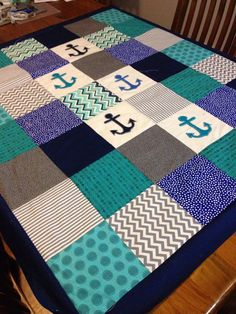 Patchwork Cot Quilt Made In Australia Anchors Nautical Teal And Navy