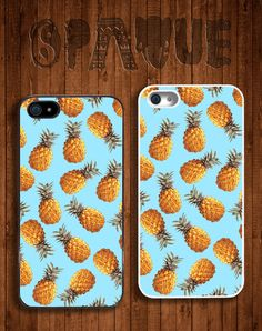 Blue Pineapple Apple iPhone 5 5s & 4 4s Durable Hard Case -  In Multiple Colours - Hipster Indie Grunge Vintage Tropical Summer Tumblr