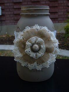 Hand painted brown mason jar with cream burlap ribbon and lace/burlap flower Burlap Lace, Burlap Flowers, Burlap Ribbon, Lace Flowers, Fabric Flowers, Hessian, Burlap Projects, Burlap Crafts, Diy Crafts