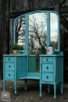 Antique Aqua Vanity Makeover by FunCycled  www.funcycled.com
