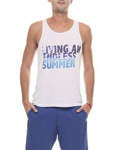 """Moda Para Homens: Regata branca """"Living an Endless Summer"""" / """"Vivendo um verão sem fim""""."""