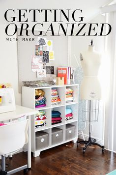 Fabric storage and inspiration board (labels for shelving and boxes via Makr -- a FREE design app!)