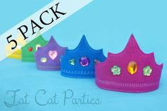 Set of 5 Party Pack  Felt Princess Tiaras by FatCatParties on Etsy, $40.00