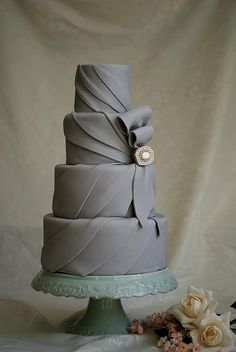 marshmallow fondant grey and black wedding cakes