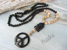 Ketten lang - Kette Onyx Buddha schwarz - natur HORN PEACE - ein Designerstück von charm_one bei DaWanda