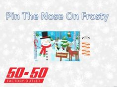 pin the nose on frosty  is a great idea for any christmas party this year! Check out our other great ideas and decorations at www.5050factoryoutlet.com  #christmas #craft #kidsactivity #party #holiday #fun #party #partystore #supplies #games #decorations #snowman #frosty #fun #kids #play #activities