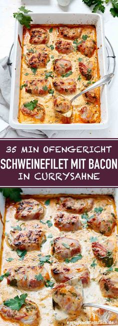 Pork fillet with bacon in curry cream - . - Pork fillet with bacon in curry cream The simple and uncomplicated recipe can be conjured up on the - Pork Recipes, Chicken Recipes, Healthy Recipes, Pork Fillet, Meal Prep, Food And Drink, Easy Meals, Dinner Recipes, Lunch