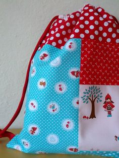 Patchwork drawstring backpack, gym bag, day travel bag with pockets for children, Little Red Riding Hood cotton fabric red aqua and canvas cotton