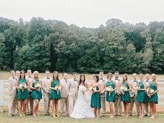 teal + khaki bridal party | Amy Arrington #wedding