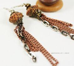 Earrings, Natural Seed Bead Chain Drop