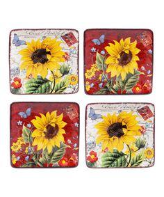 Look at this #zulilyfind! Sunflower Meadow Canape Plate - Set of Four #zulilyfinds