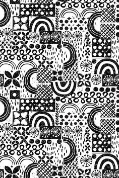 Hawaiian Holiday B W By Ottomanbrim Black And White Sketch Stamps On Fabric Wallpaper Gift Wrap Beautiful Sketchy Pattern Shapes