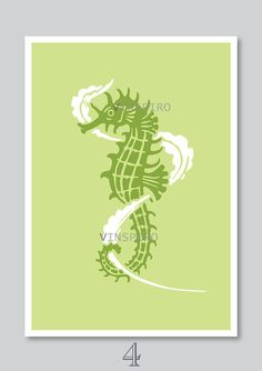 Sea horse art print nursery decor kids nautical by Vinspiro, $18.00