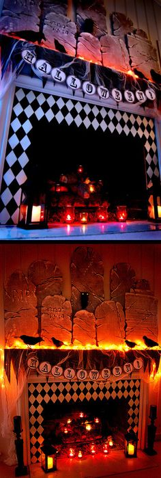 Harlequin covered fireplace.  If you use harlequin paper to cover you fireplace, DO NOT use real candles!  Festive Harlequin Fête Halloween Party Decorating & Ideas