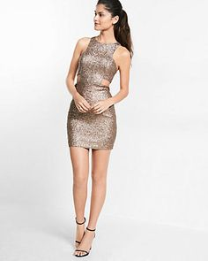 cut-out sequin mini dress