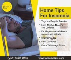 Insomnia means difficulty in falling or staying asleep. Try this home tips to avoid insomnia and stay fresh and active throughout the day. Sleep Better Tips, Chamomile Tea, Stay Fresh, Regular Exercise, Home Hacks, Stress Management, Insomnia, Healthy Tips