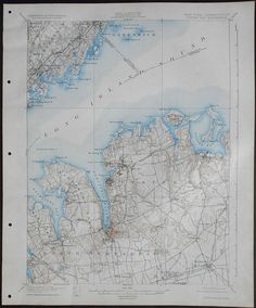 1918 Map: Oyster Bay, Hempstead Bay, Long Island Sound, Manhasset Neck, New York. Large Vintage NY Topographic Map, USGS Antique Topo
