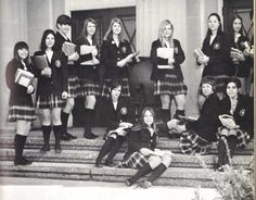 Catholic high school uniforms in the & . blazers, white blouses, knee socks, and plaid skirts (rolled up, of course) American School Uniforms, Catholic School Uniforms, Catholic School Girl, School Girl Outfit, School Uniform Girls, Girls Uniforms, School Outfits, Irish Catholic, Catholic High