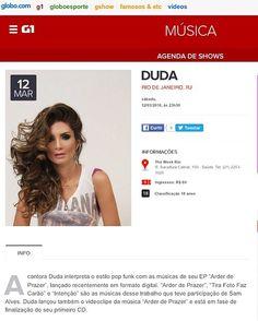 Agenda do próximo show no @portalg1 fiquem ligadinhos galera quero ver todos vocês lá comigo !  #ShowDaDuda by dudaoficial