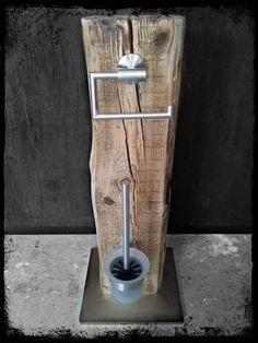 Klopapierhalter - WC Garnitur WC Set Bürste Halter Upcycling Klo - ein Designerstück von KonzeptFrei bei DaWanda: