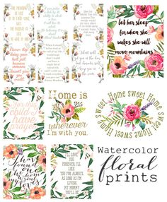 An entire set of watercolor printables for your home! Perfect for a little girls room, birthday party decor and for many budget worthy decor project! watercolor floral prints from the Mountain View Cottage thumnail. Little Girl Rooms, Free Printables, Decoupage Printables, Printable Labels, Free Prints, Printable Wall Art, Printable Quotes, Mountain View, Happy Planner