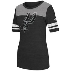 adidas San Antonio Spurs Womens Original Big Logo Tri-Blend T-Shirt - Charcoal