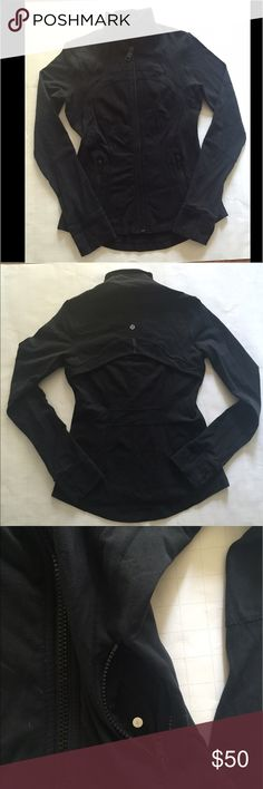 Lululemon jacket black Sz 6 Lululemon jacket black with back vent hand warmer holes and flip cuffs to keep you warm 💕Sz 6 very little pilling under arms. lululemon athletica Jackets & Coats