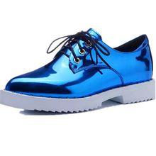 Couro de alta qualidade sapatos Oxford mulher 2016 Bling plataforma Lace Up Flats Pointed Toe marca mulheres casuais de couro Shoes15(China (Mainland))