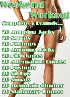 weekend workout. good to print out and put in garage or in bedroom to see every day.