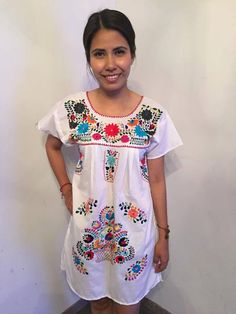 Mexican mini dress tunic embroidered white mexican party day of the dead cinco de mayo mexican party mexican wedding frida kahlo fiesta by Miamorcitocorazon on Etsy
