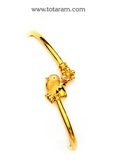 Fine Gold Baby Bangles - Single Bangle - - Indian Jewelry from Totaram Jewelers Kids Gold Jewellery, Baby Jewelry, Kids Jewelry, Rose Gold Jewelry, Latest Jewellery, Jewellery Designs, Bracelet Designs, Gold Bracelet Indian, Indian Jewelry