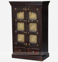 Wooden Brass Fitted Almirah with Drawers India