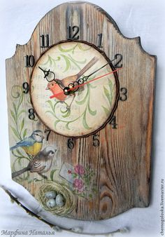 """Купить Часы """"Птичьи трели"""" из сосны. - разноцветный, часы в подарок, часы интерьерные, браш, сосна"""