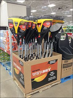 Some Marketer had their thinking cap on. Why not push palletized PrePacks of rakes for Fall yard cleanup? Kitchen Supply Store, Construction Materials, Kitchen Supplies, Wet And Dry, Clean Up, Psychology, Hardware, Modern, Garage