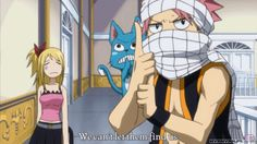 Still more ninja than a guy with a orange gym suit, who we all know... | Fairy tail Natsu Lucy Happy gif Nin Nin funny first season