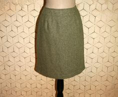 90s Wool Tweed Skirt Small Petite Olive Green by MagpieandOtis