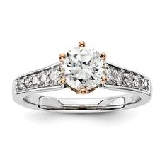 1 1/3ct Unique Diamond Antique Vintage Engagement Ring White and Rose Gold Forever Brilliant Moissanite in the center! by LyonsJewelry, $995.00