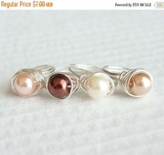 Christmas Sale Brown Pearl Ring Wire Wrapped by HopeFilledJewelry