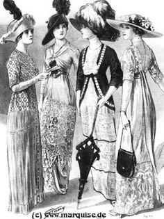 Vintage Fashion 1912 dresses - When researcing the Titanic dresses I intened to make, I came across lots and lots of beautiful pictures of Edwardian clothing. Even though my dresses are all done, I tought I share some of my favo… Edwardian Clothing, Edwardian Dress, Edwardian Era, Edwardian Fashion, Vintage Fashion, Fashion 1920s, Victorian Dresses, French Fashion, Ladies Fashion