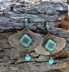 Your place to buy and sell all things handmade Butter Shrimp, Garlic Butter, Silver Earrings, Turquoise Necklace, Floral Texture, Nickel Silver, Czech Glass, Silver Color, Metals