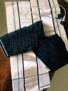 Kerala Saree Blouse Designs, Saree Blouse Neck Designs, Simple Blouse Designs, Mirror Work Blouse Design, Set Saree, Stylish Sarees, Onam Saree, Kasavu Saree, Women's Fashion Dresses