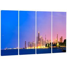 DesignArt City of Chicago Skyline - Cityscape 4 Piece Photographic Print on Wrapped Canvas Set