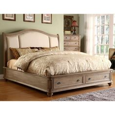 Lowest price online on all Riverside Furniture Coventry Upholstered Storage Sleigh Bed in Driftwood - COVTRYSTRGBED Upholstered Bedroom Set, Bedroom Sets, Master Bedroom, Bedroom Decor, King Bedroom, Wood Bedroom, King Bed Headboard, Headboards For Beds, King Comforter