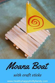 Disney Moana Boat Craft - ship made with craft sticks