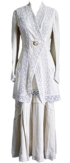 Edwardian Linen & Lace Walking Suit For Sale Edwardian Clothing, Edwardian Dress, Antique Clothing, Edwardian Fashion, Historical Clothing, Vintage Fashion, Victorian Dresses, Victorian Lace, Edwardian Era