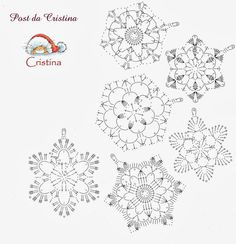 Free Easy Crochet Snowflake Pattern – Snowflakes WorldThousand ideas perNatale: Stelline and candid snowflakes Crochet Earrings Pattern, Crochet Snowflake Pattern, Crochet Stars, Crochet Motifs, Crochet Snowflakes, Filet Crochet, Afghan Crochet Patterns, Crochet Doilies, Crochet Flowers