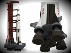 Saturn V Rocket And Launch Pad Paper Model - by Paper Replika - == -  A very well done paper model created by Indonesian designer Julius Perdana, from Paper Replika website, of the Saturn V Rocket with Launch Pad, occuping 9 sheets of paper, around 40 cm tall and in 1/300 scale.