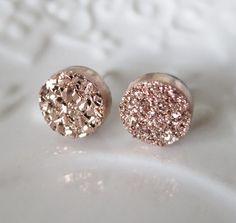 Cadeau Rose Druzy Stud boucles doreilles or boucles par AngelPearls