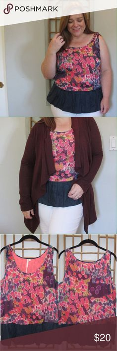 DAILY 10! RACHEL Rachel Roy Floral Tank This $10 item will be deleted 8/22/17, so get it today! See the rest of my End of Summer Sale items in my closet. RACHEL Rachel Roy Floral Tank. Navy blue peplum. Floral in pinks, purple, blue, green, and yellow. Upper floral fabric is cotton/silk blend. RACHEL Rachel Roy Tops