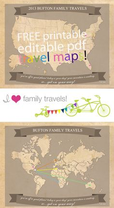 Free printable travel map; perfect for the traveling couple!